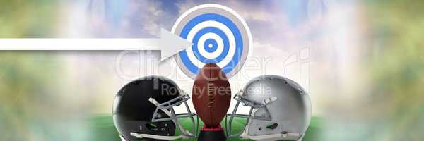 American football versus teams helmets with target and arrow and ball