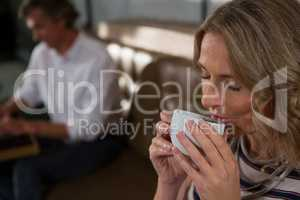 Beautiful woman having coffee