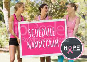 Schedule mammogram and pink breast cancer awareness women holding card