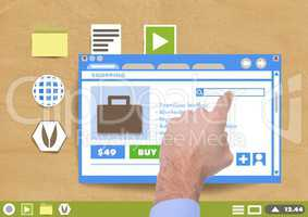Hand touching Shopping website window and Folder and files icons on Paper cut out desktop