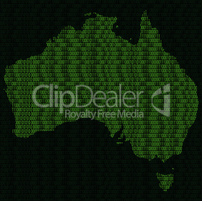 Silhouette of Australia from binary digits