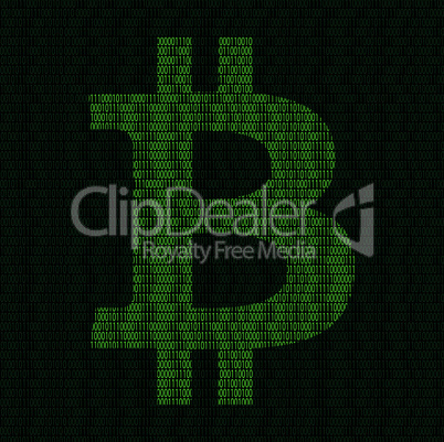 Silhouette of bitcoin symbol from binary digits
