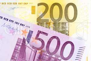 European banknotes of large amounts.
