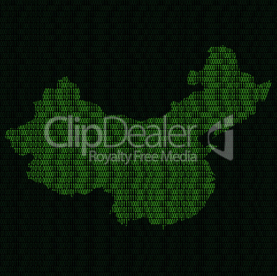 Silhouette of China from binary digits