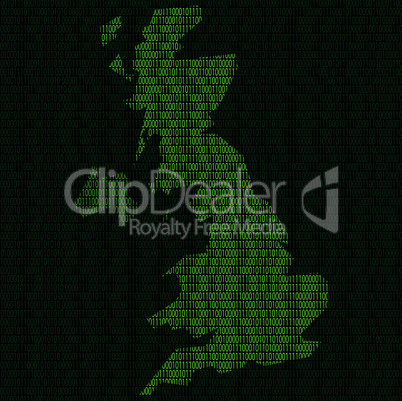 Silhouette of Great Britain from binary digits