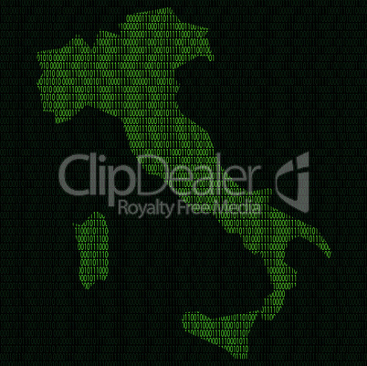 Silhouette of Italy from binary digits