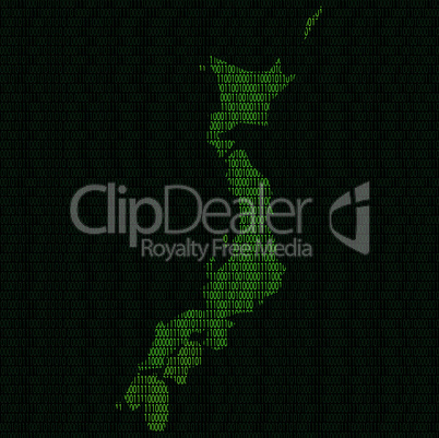 Silhouette of Japan from binary digits