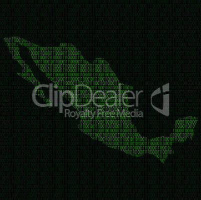 Silhouette of Mexico from binary digits