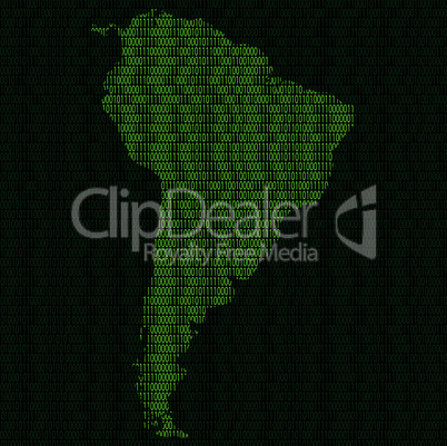 Silhouette of South America from binary digits