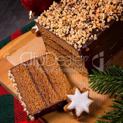 chocolate-cherry gingerbread pie