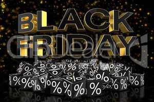 3d render - black cubes with percentage - black friday - golden