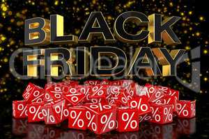 3d render - red cubes with percentage - black friday - golden bo