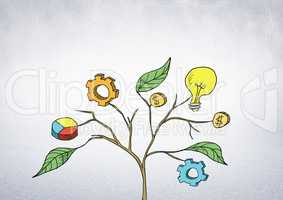 Drawing of Business graphics on plant branches on wall