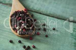 Mix peppercorns in spoon