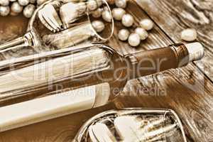 Toned image. Bottle of white wine. Thanksgiving.