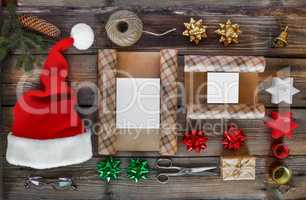 New Year, Christmas, holiday, Objects for packing gifts. packages and gifts for the new year.