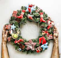 Christmas wreath.  New Year. Christmas holiday.