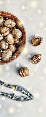 Christmas, New Year. Walnuts.