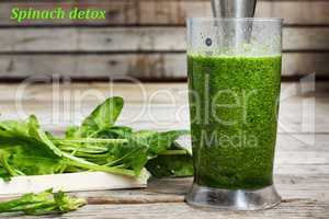 Detox drink made from spinach, cucumber, lime and avocado. Proper nutrition. DETOX drink made from green vegetables in a blender. COOKING PROCESS.