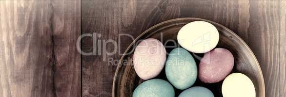 Easter. Easter eggs. wooden background