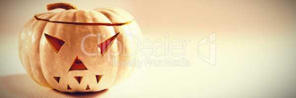 Jack o lantern on white background during autumn