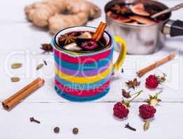 hot mulled wine in a mug