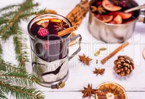 mulled wine in a glass