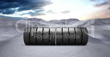 Tyres in Winter snow landscape