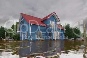3d render - flooding blue house