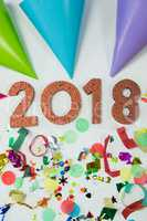 New year 2018 with party hat and decoration