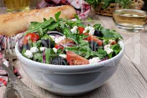 Greek salad with arugula