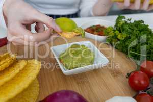 Woman eating mexican food
