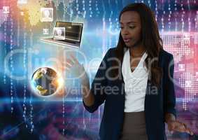 World and device contacts interface and Businesswoman touching air in front of virtual number codes
