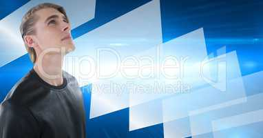Man looking up with rectangle perspective background