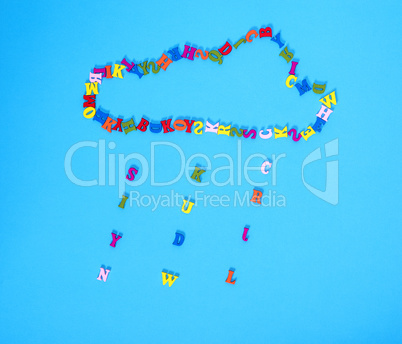 figure of a cloud of multi-colored wooden letters