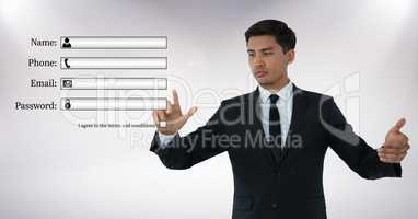 Secure Profile Login contact graphic Businessman touching air with hand gestures in front of white b