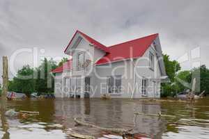 3d render - flooding blue house