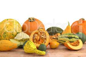 3d render of pumpkins on a wooden table