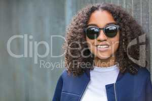 Happy Mixed Race African American Teenager Woman In Sunglasses