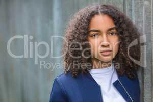 Sad Mixed Race African American Teenager Girl Young Woman