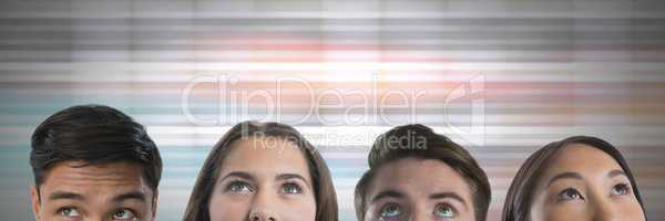 People looking up with color motion background