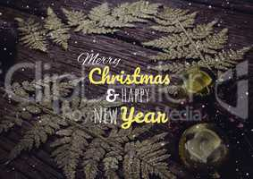 merry Christmas and happy new year text on snow background