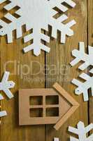 House with snow flake decoration