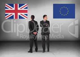 United Kingdom flag or Europe flag with Businessman looking in opposite directions