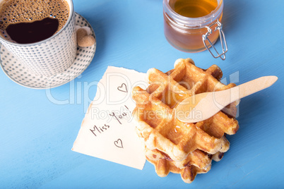 Waffles with honey and miss you message