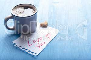 Morning coffee and love you message