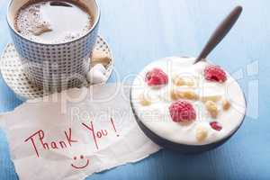 Healthy breakfast and thank you note
