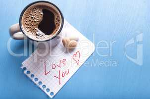 Love you note and coffee