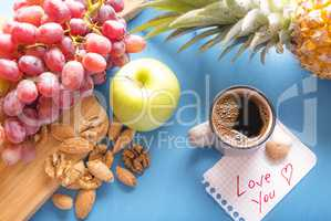 Love you note and healthy breakfast