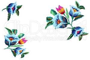 Craft: embroidered satin stitch flowers beautiful.